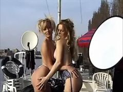 Two blonde chicks have fun on yacht