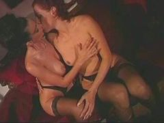 Lesbian licking and dildoing pussy