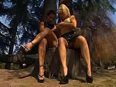 Mature lesbians have fun in forest