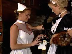 Lustful lesbo maid and nurse have fun on stairs