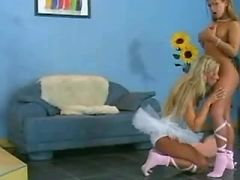 Beautiful ballerina licks wet pink pussy on sofa