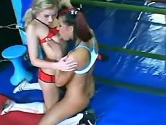 Interracial lesbians enjoy big dildo after boxing