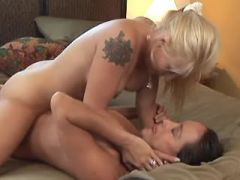 Lesbian greedily licks out wet pussy of whore