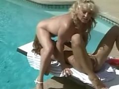 Cute lesbian dildofucks yummy girlfriend in pool