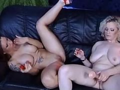 Chesty blonde lesbian dildos juicy pussy of slutty