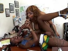 Black lesbian secretaries dildofuck each other