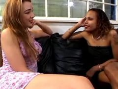 Blond lesbian fingering black babe on leather sofa