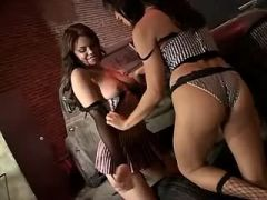 Lusty lesbian licks beautiful chick in workshop