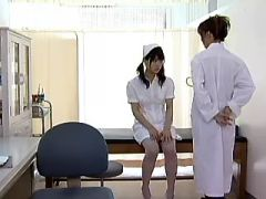 Asian lesbian licks nurse with hairy pussy on table