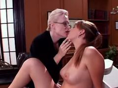 Mature teacher spoils hot school babe on table