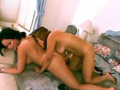 Mature brunette lesbian spoils sweet chick in bed