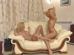 Young blonde lesbians lick out pussies each other